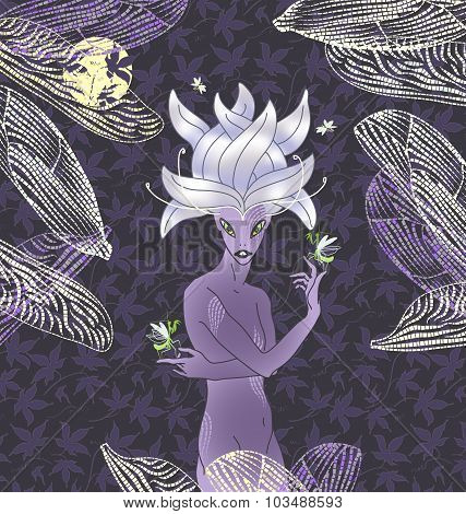 Young Sprite Or Fairy. Spirit Of Insects And Nature. Night Magic Scene. Drawn Illustration Of Charac