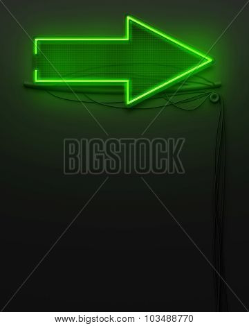 Neon Glowing Signboard With Arrow Sign, Copyspace
