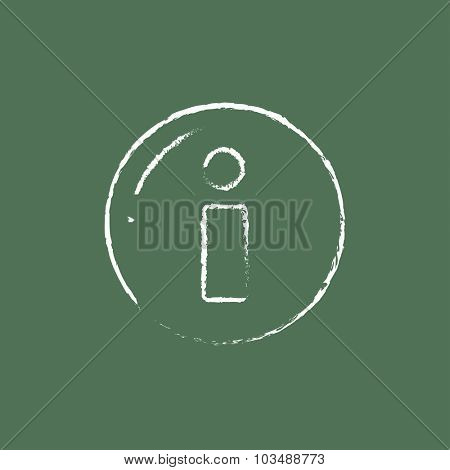 Information sign hand drawn in chalk on a blackboard vector white icon isolated on a green background.