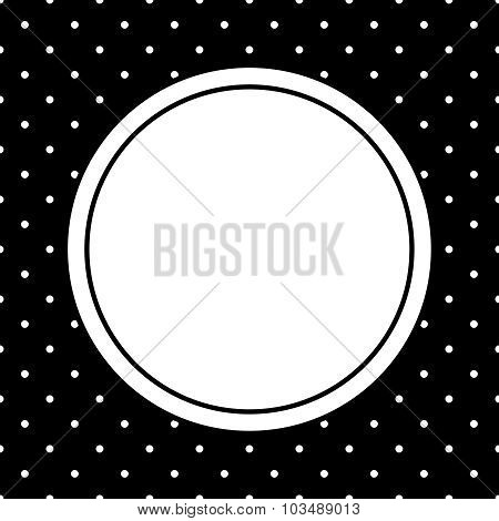 Vector frame and white polka dots on black background