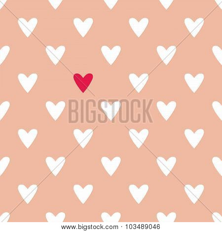 Tile cute vector pattern with white and red hearts on pastel pink background