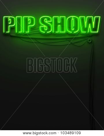 Neon Glowing Sign With Word Pip Show, Copyspace