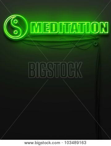 Neon Glowing Sign With Word Meditation, Copyspace