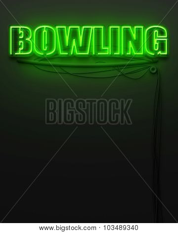 Neon Glowing Sign With Word Bowling, Copyspace