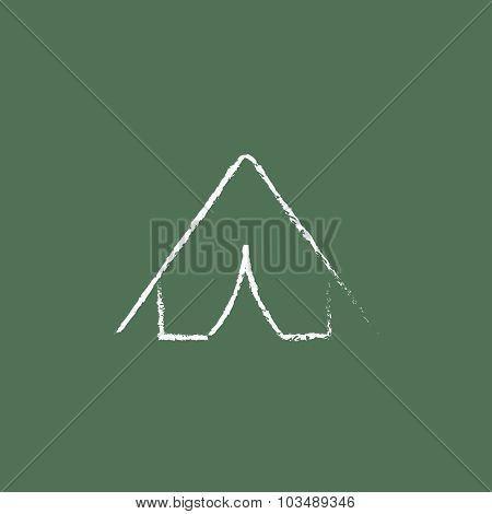 Tent hand drawn in chalk on a blackboard vector white icon isolated on a green background.