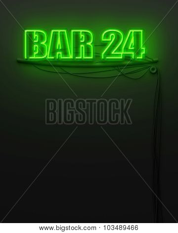 Neon Glowing Sign With Word Bar 24, Copyspace