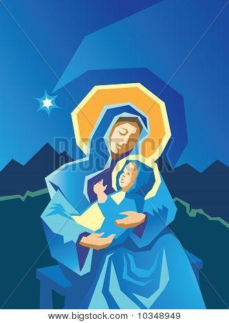 Nativity Mary And Baby Jesus Woodcut