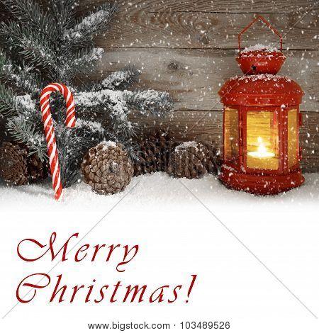 Red Lantern Glowing On A Snowy Christmas Night