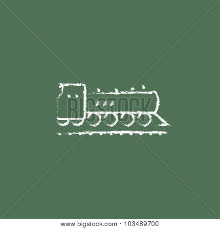 Train hand drawn in chalk on a blackboard vector white icon isolated on a green background.