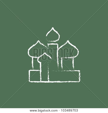 Orthodox church hand drawn in chalk on a blackboard vector white icon isolated on a green background.