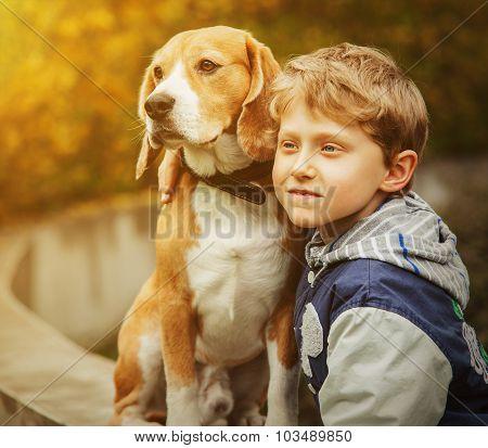 Boy With Beagle Portrait