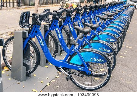 New York City - November 21, 2013: New Blue Citibikes Lined Up At The Exit Of Grand Central Terminal
