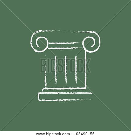 Ancient column hand drawn in chalk on a blackboard vector white icon isolated on a green background.