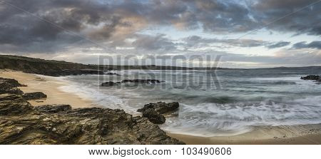 Beautiful Sunrise Landscape Of Godrevy On Cornwall Coastline In England
