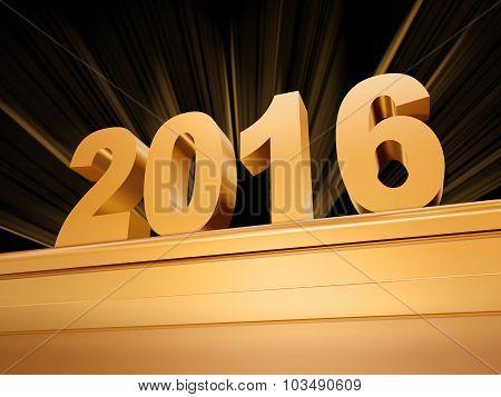 Golden New Year 2016 On A Pedestal