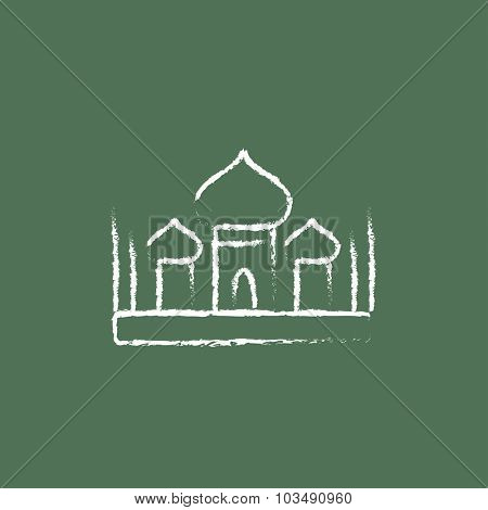 Mosque hand drawn in chalk on a blackboard vector white icon isolated on a green background.