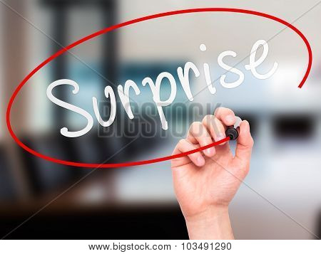 Man hand writing Surprise on visual screen