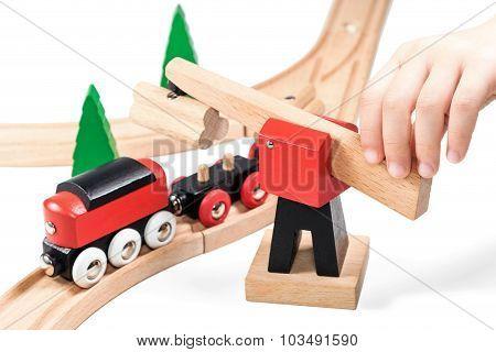Baby Hand Playing Train