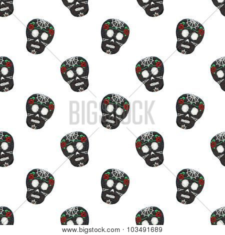 Sugar skull. Seamless pattern with Day of the Dead symbol.