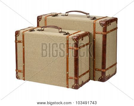 Two Standing Wood Burlap Suitcases