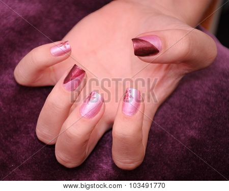 close up of manicure
