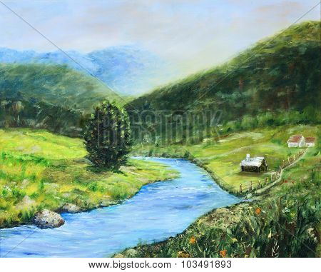 Early Morning In The Valley Original Landscape Painting