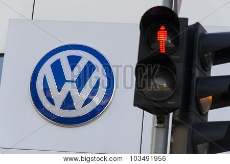 Red Colour On Traffic Light With Volkswagen Car Maker
