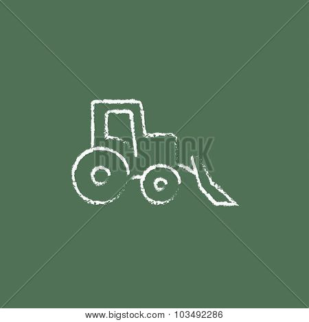 Bulldozer hand drawn in chalk on a blackboard vector white icon isolated on a green background.