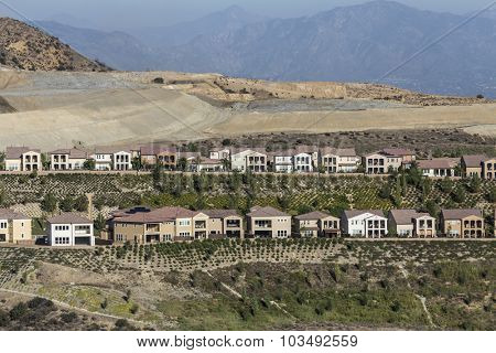 Hillside home construction in the Porter Ranch neighborhood of Los Angeles, California.