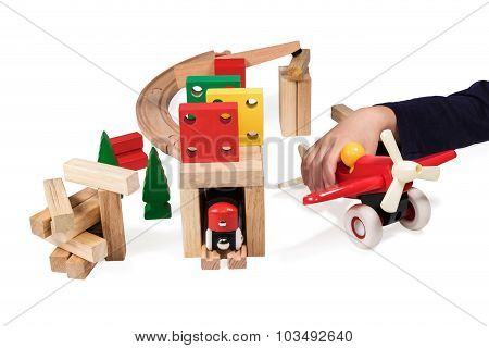 Child Playing Wooden Toys