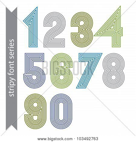 Stripy Geometric Numbers Made With Parallel Straight Lines. Light Graphic Vector Stylish Numeration,