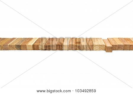 Row Wooden Blocks Lying