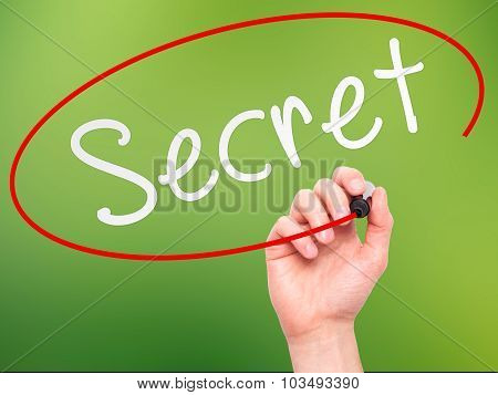 Man Hand writing Secret black marker on visual screen.
