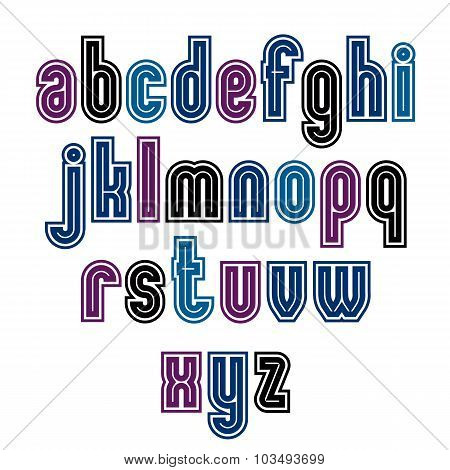 Binary Striped Distinct Font, Geometric Bold Bright Typeface. Colorful Calligraphic Lowercase Letter