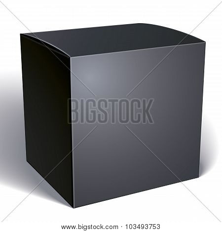 Vector Blank Black Box Isolated On White Background, Template For Your Package Design, Put Your Imag
