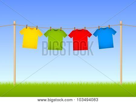 Hung T-shirts