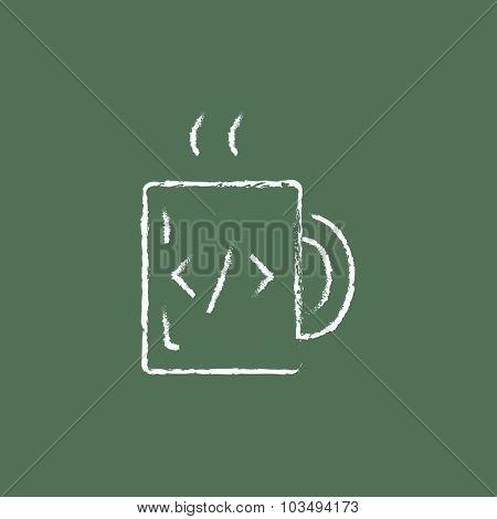 Cup of coffee with a code sign hand drawn in chalk on a blackboard vector white icon isolated on a green background.