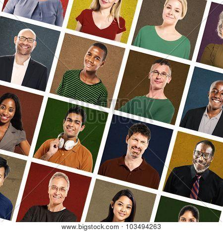 Multiethnic People Colorful Smiling Portrait Concept