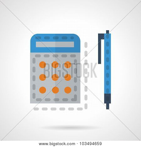 Calculator and pen color vector icon