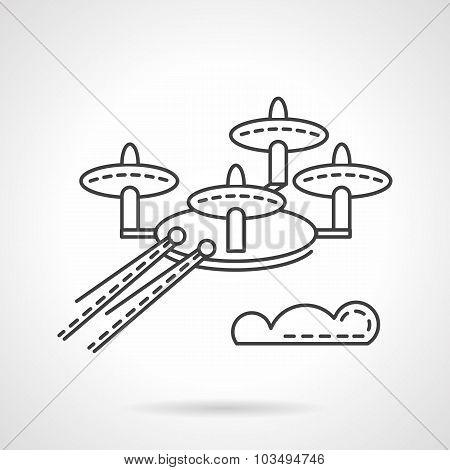 Surveillance drone  flat line vector icon