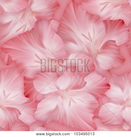 Lovely Pink Pattern With Gladiolus Heads. Original Texture For Design Textile.