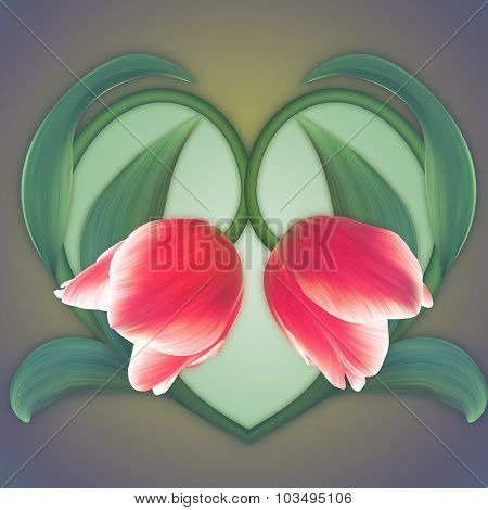 Beautiful Heart Of The Red Tulips. Fresh Spring Banner. Love Card.