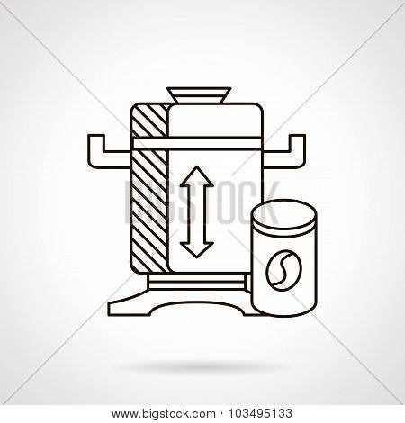 Flat line coffee mill vector icon