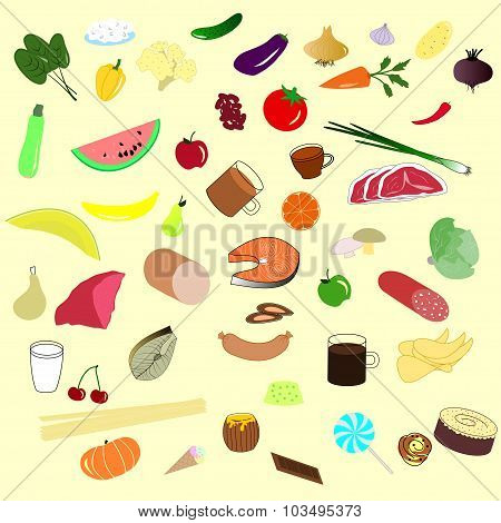 Background From Natural Fruits, Vegetables, Drinks, Meat Etc.