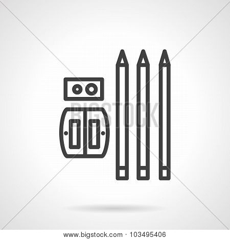 Pencils and sharpener simple line vector icon