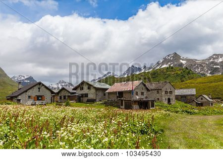 Panorama View Of The Village In The Alps