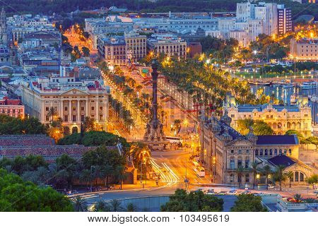 Mirador de Colom at night, Barcelona, Spain