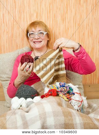 Knitting Senior Woman