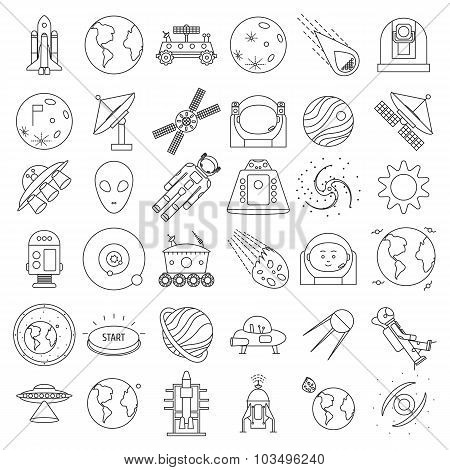 Set of outlined space equipment icons. ufo, satellite, astronaut, spacesuit, robot, technique. Vecto