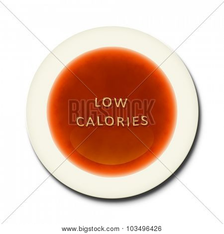 An alphabet soup with the words low calories